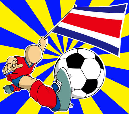 Costa rica soccer player with flag and ball cartoon vector in eps10 Vector