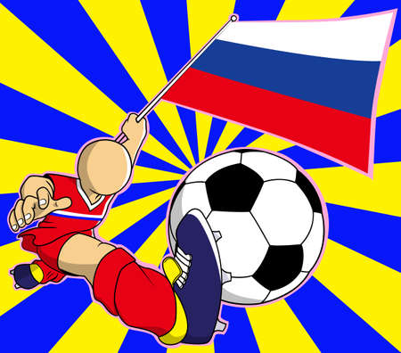 soccer coach: Russia soccer player with flag and ball cartoon Illustration