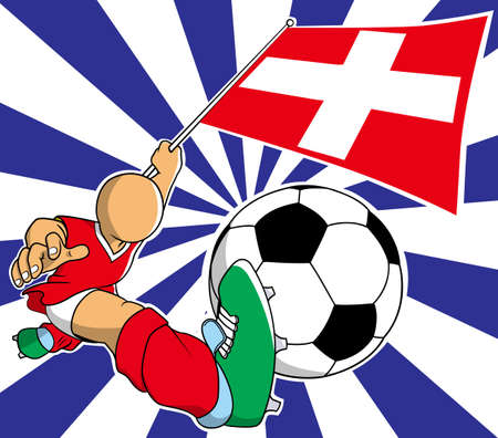 soccer coach: Switzerland soccer player with flag and ball