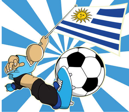uruguay: Uruguay soccer player with flag and ball cartoon