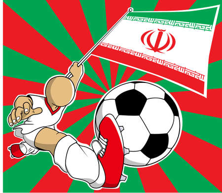 soccer coach: Iran soccer player with flag and ball cartoon Illustration