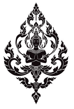 buddhist temple: Thai arts angel Illustration