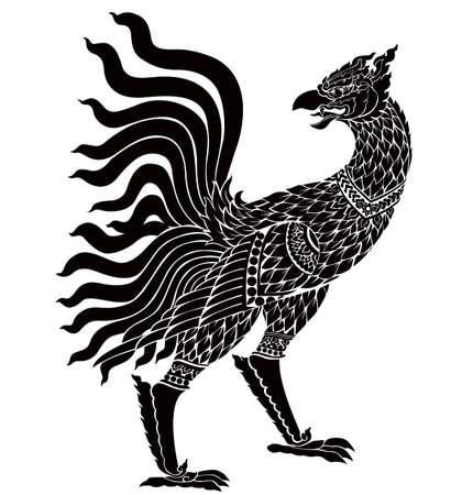 Bird of Thai art vector Çizim