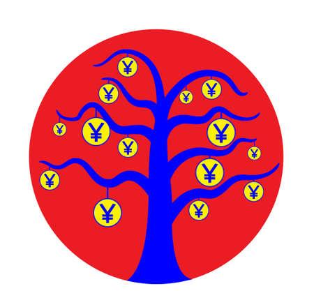 japanese yen: Japan currency tree  Illustration