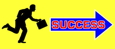 The road to success as depicted by man running and holding his bag to follow successful arrow