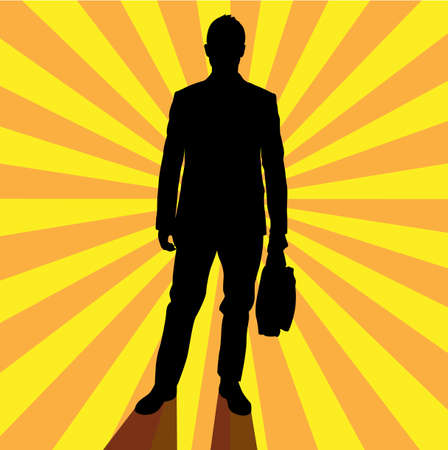 The road to success as depicted by man holding his bag over sunburst. Vector