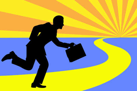 The road to success as depicted by man running and holding his bag over sunburst. Vector