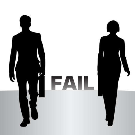 man and woman is walking out failure in the past and seeking for new success Vector