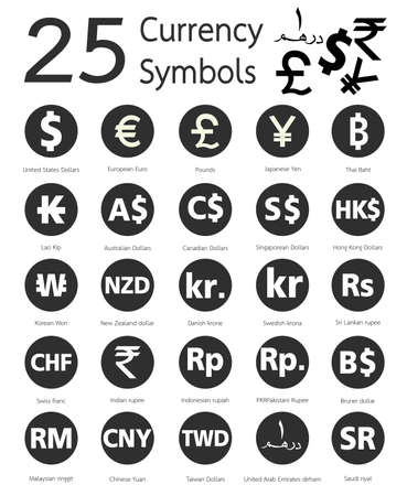 symbol icon: 25 currency symbols, countries and their name around the world
