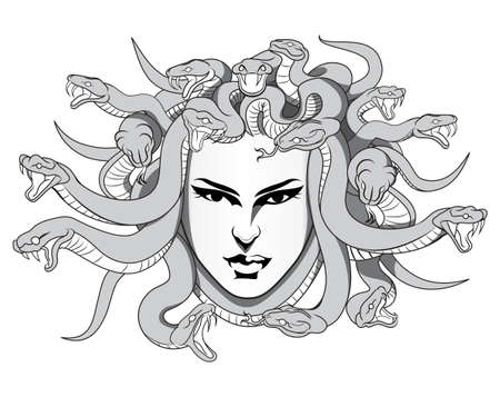greek mythology: medusa with poison snakes