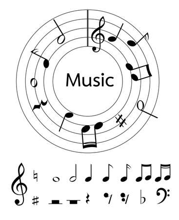 half note: Music notes vector for decoration or other .  Illustration