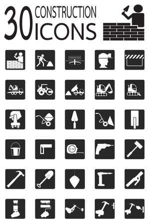 warning saw: Thirty construction Icons