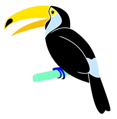tilling: Cartoon animal - toucan - flat coloring style