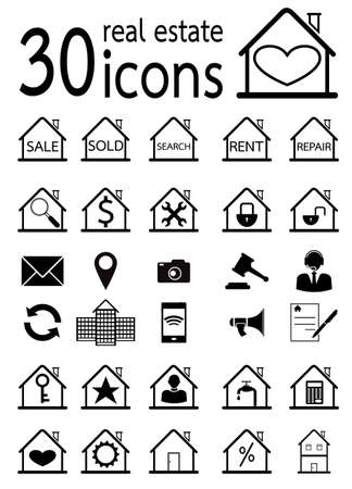 real estate icons set  vector in eps10 Vector