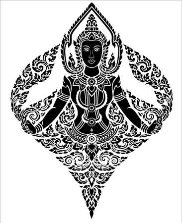 thai art female angel pattern  Vector