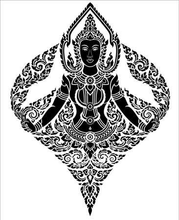 thai art female angel pattern  Vector