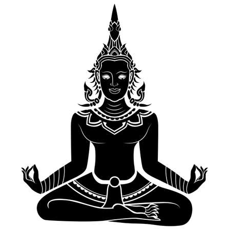 Silhouette illustration of an angel meditating  Vector