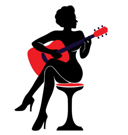 nude art model: The vector illustration silhouette of a woman with a guitar  Illustration