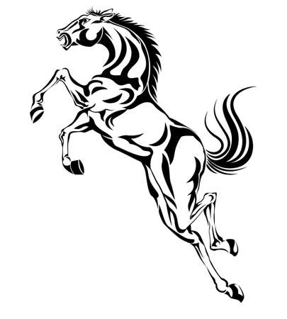 jumping horse,black white picture isolated on white background,vector illustration Vector