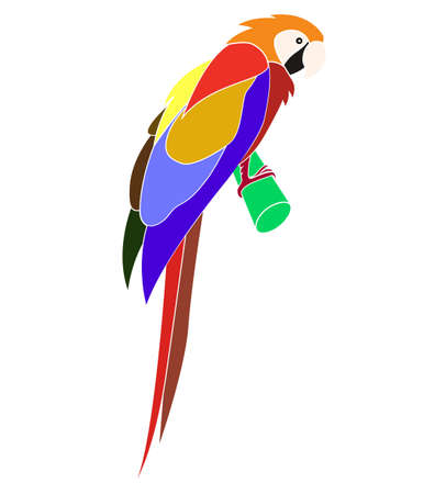 Cartoon animal - parrot - flat coloring style vector  Vector