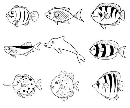 black and white sea fish cartoon icons vector Vector