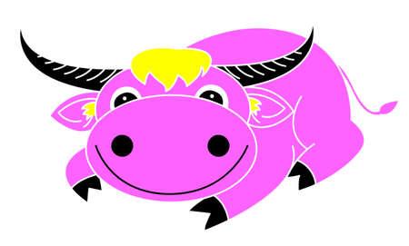 color buffalo cartoon  Vector
