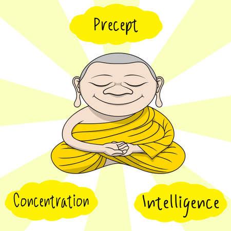principal: three principal of buddhist , intelligence, concentration and religion precept