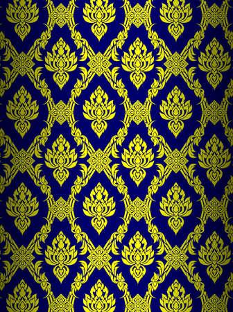 Thai art wall pattern illustrations  Illustration