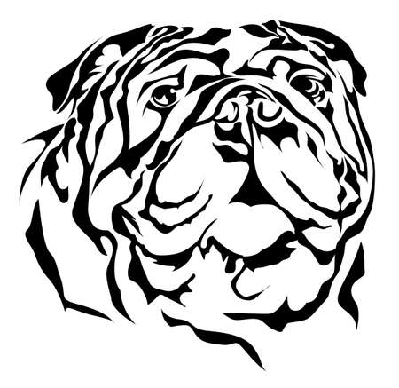 Bulldog silhouette on white background  イラスト・ベクター素材