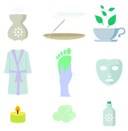 incense: Spa color icon set vector