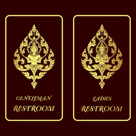 asian applied art illustration restroom golden signs