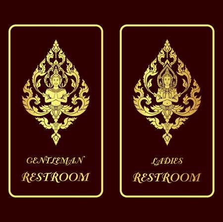 asian applied art illustration restroom golden signs