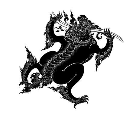 asian art: asian art lion silhoulled on white background