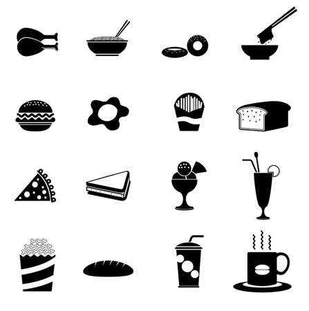 16 Black fast food icons  Vector