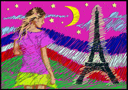 champs elysees quarter: line drawing art style \welcome to Fance and the Eiffel Tower illuminated at night \ postcard Illustration