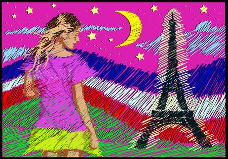 """hosszú expozíció: vonalas rajz art stílusban  """"Üdvözöljük Fance és az Eiffel-torony kivilágított éjszaka """" képeslap Illusztráció"""