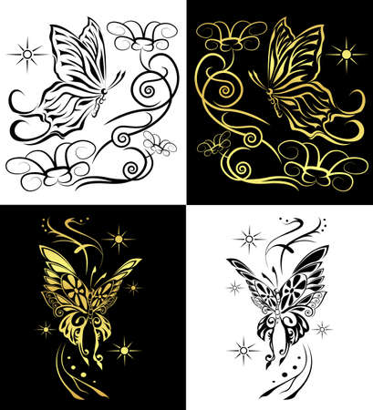 duo butterflies  for any decorations or tattoo Vector