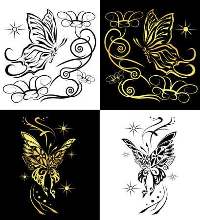 dessin fleur: papillons duo pour toutes les d�corations ou tatouage