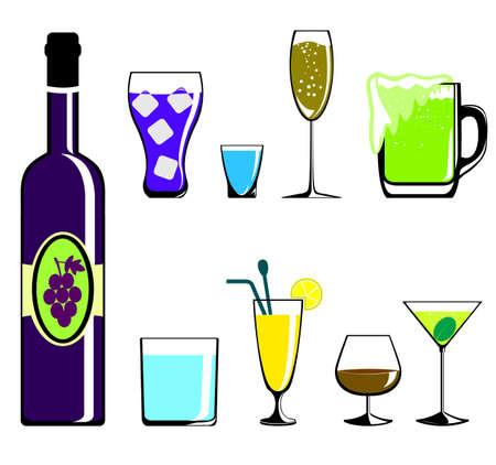 飲むアルコールと非アルコール飲料のアイコンを設定  イラスト・ベクター素材