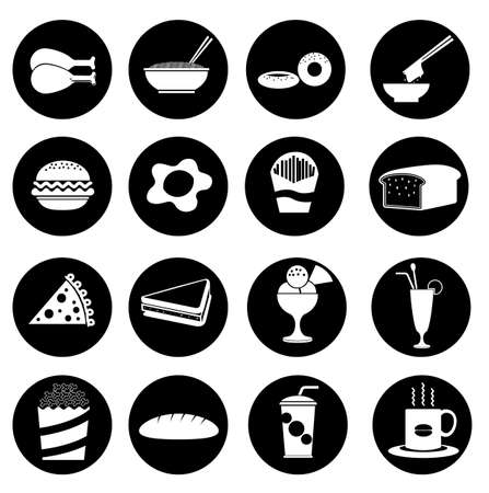 16  fast food icons  Vector