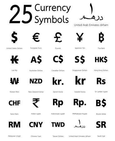 Symboles 25 de change, les pays et leur nom dans le monde entier Banque d'images - 31038926