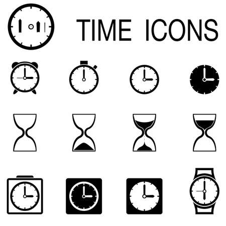 Time and Clock icons on white background. Vector illustration. Vector
