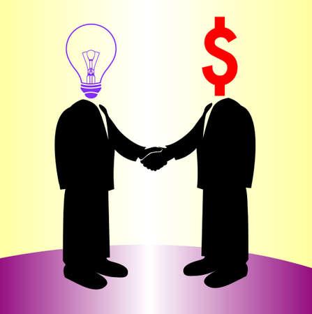 image of handshake between knowledge and money Vector