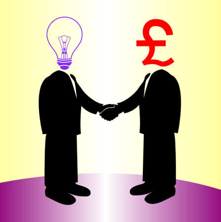 image of handshake between knowledge and Pound money Vector