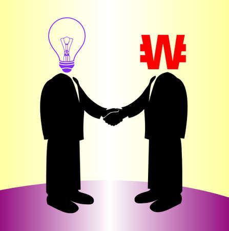 image of handshake between knowledge and won money Vector