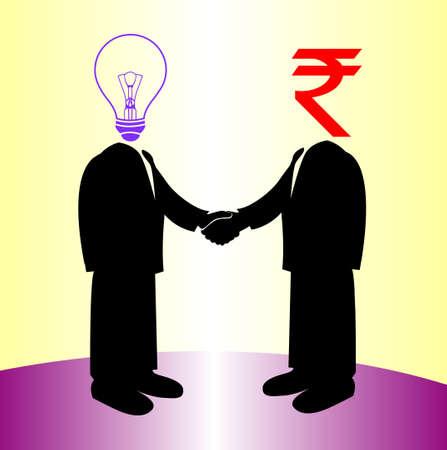 image of handshake between knowledge and rupee money Vector