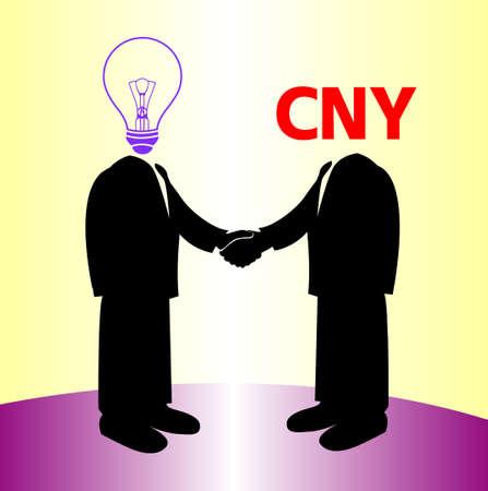 image of handshake between knowledge and yuan money Vector