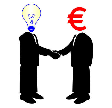 image of handshake between knowledge and euro money Vector