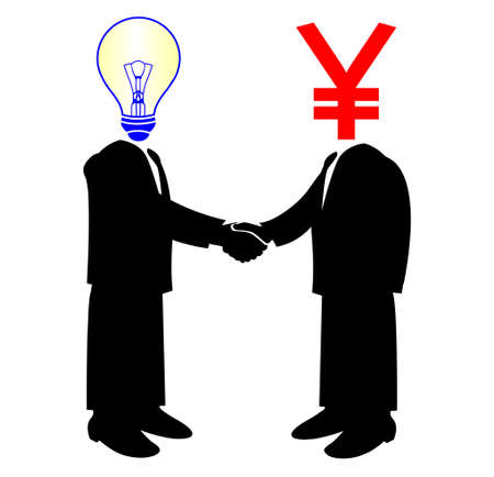 image of handshake between knowledge and Yen money Vector