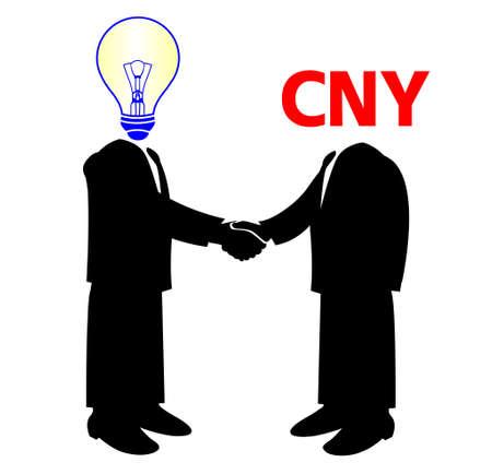 yuan:  image of handshake between knowledge and yuan money Illustration